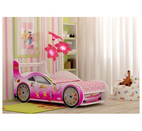 Кровать-машина для девочки Винкс Плюс с выдвижным ящиком, спальное место 1700*800 мм.