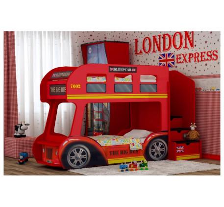 Детская двухъярусная кровать-автобус Лондон, спальное место кроватей 1700*700 мм
