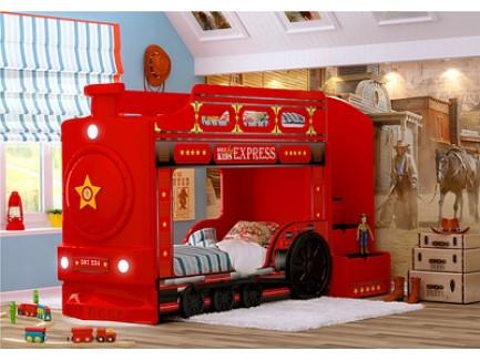 Кровать-паровоз (детская двухъярусная кроватка «Red River»)