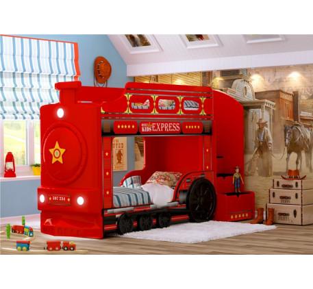 Кровать Паровоз детская двухъярусная