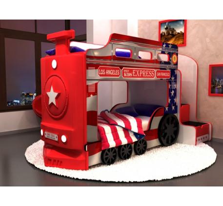 Детская кровать-паровоз Америка