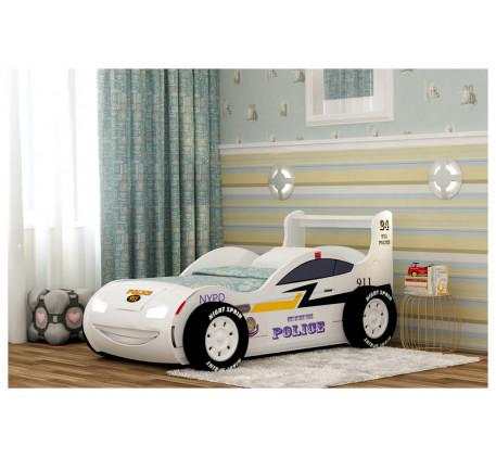 Кровать-машина Полиция 3D с подсветкой фар, подъемным основанием, объемными колесами