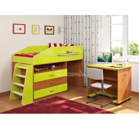 Детская кровать-чердак низкая Легенда-12.1, спальное место 160х80 см