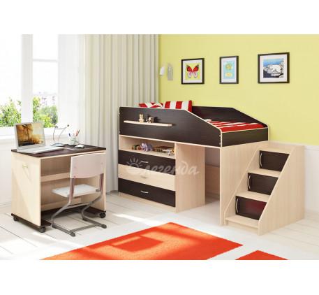 Кровать-чердак низкая Легенда-12.2, спальное место 160х80 см