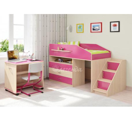 Кровать-чердак низкая для девочки Легенда-12.2, спальное место 160х80 см