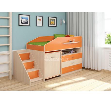 Кровать-чердак низкая с рабочей зоной Легенда-12.2, спальное место 160х80 см