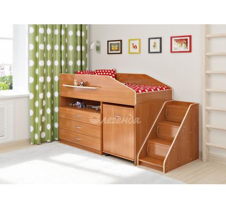 Кровать-чердак невысокая с рабочей зоной Легенда-12.2, спальное место 160х80 см
