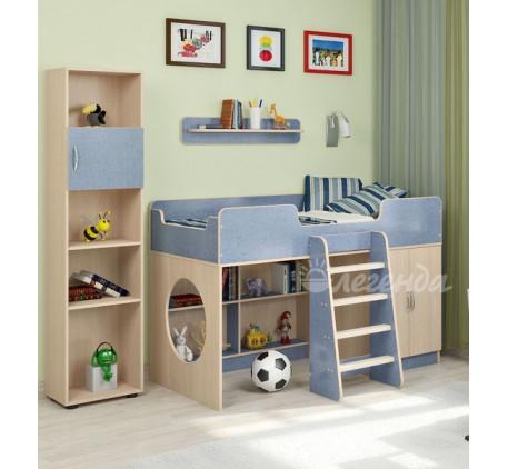 Детская мебель Легенда. Комната №2: кровать Легенда-2, лестница ЛП-12, стеллаж Л-01, полка Л-01