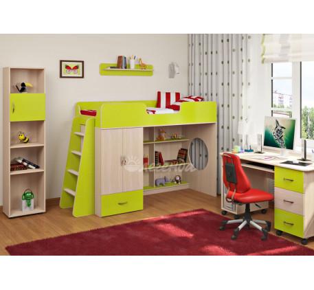 Детская мебель Легенда. Комната №3: кровать-чердак Легенда-3, лестница ЛП-11, стол Л-01, стеллаж Л-0..
