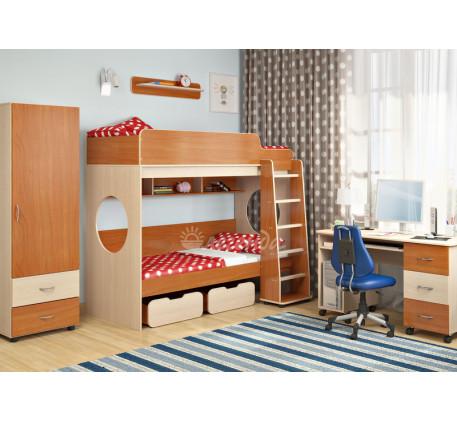 Детская мебель Легенда. Комната №7: двухъярусная кровать Легенда-7, лестница ЛП-04, пенал Л-01, полк..