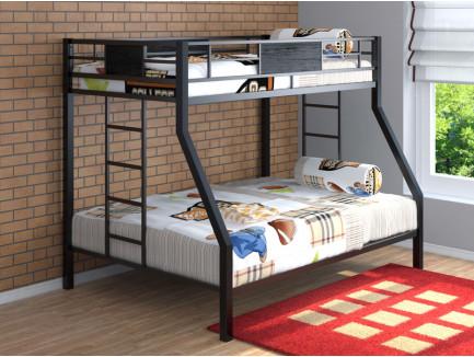 Двухъярусная кровать Гранада металлическая. Верхнее спальное место 190х90 см, нижнее 190х120 см