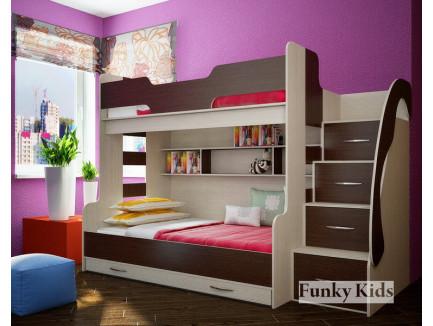 Двухъярусная кровать для троих детей Фанки Кидз-21 с дополнительным выкатным спальным местом.