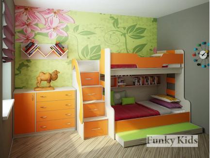 Детская комната для троих детей. Двухъярусная кровать Фанки Кидз-21 +комод 13/6 +полка 13/11.