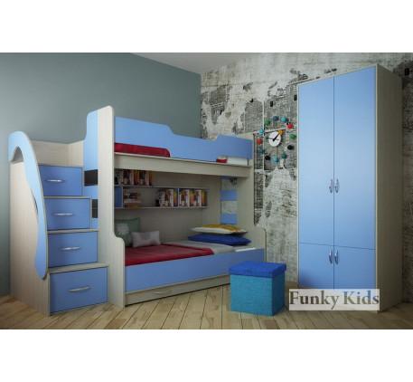 Детская комната для троих разнополых детей. Двухъярусная кровать Фанки Кидз-21 +двухдверный шкаф 13/..
