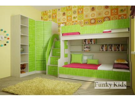 Детская комната для троих разнополых детей. Двухъярусная кровать Фанки Кидз-21 +угловой шкаф 13/15 +стеллаж 13/4.