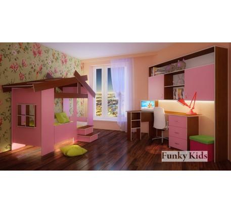 Кровать-домик для девочки Фанки Кидз-13/64 +мост 13/62 +стол угловой 13/63