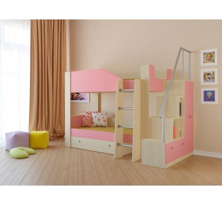Двухъярусная кровать Астра-2 с лестницей-стеллажом, спальные места 190х80 см