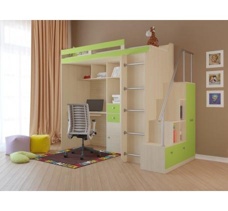 Кровать-чердак для детей Астра-1 с лестницей-стеллажом, спальное место 195х80 см