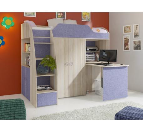 Кровать-чердак Радуга-2, спальное место кровати 2000*800 мм.