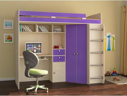 Кровать-чердак для подростка Астра-1 с рабочей зоной, спальное место 195х80 см