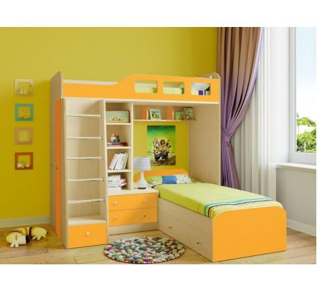 Кровать Астра-4 двухъярусная с кроватью внизу, спальные места 195х80 см