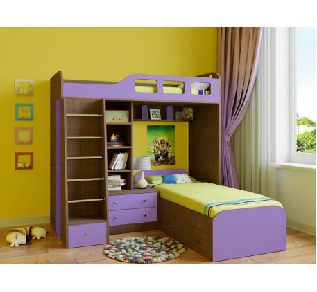 Двухъярусная кровать Астра-4 с бортиками и ящиками, спальные места 195х80 см