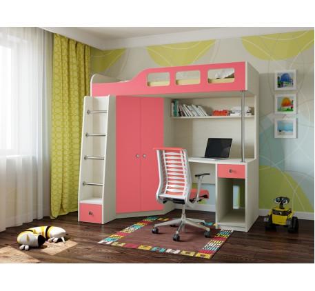 Кровать-чердак для девочки Астра-7, спальное место195х80 см