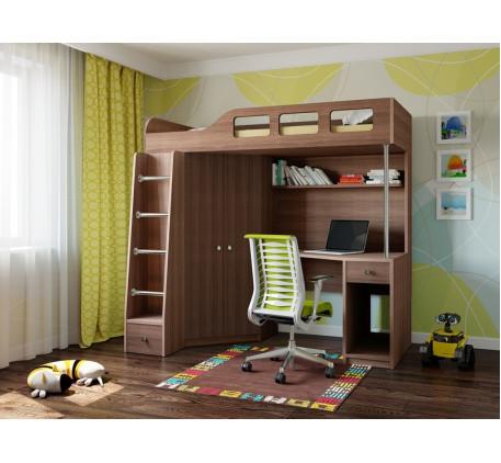 Кровать-чердак со столом и шкафом Астра-7, спальное место 195х80 см