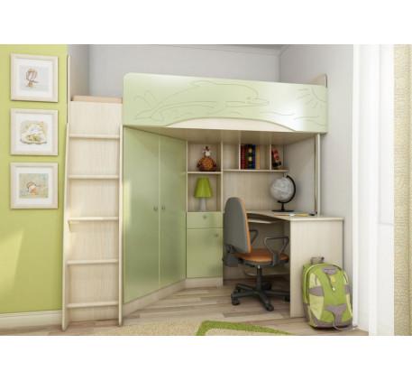 Детская кровать-чердак со столом и шкафом Бемби-4, спальное место 200х90 см