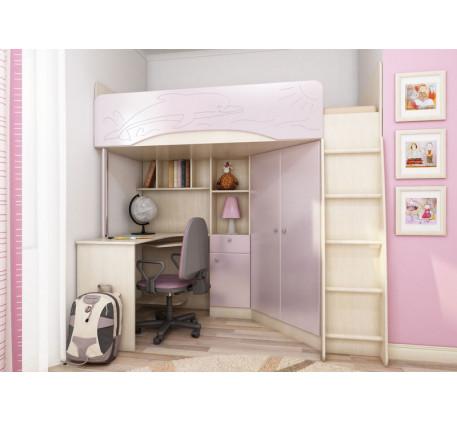 Детская кровать-чердак для девочки Бэмби-4, спальное место 200х90 см