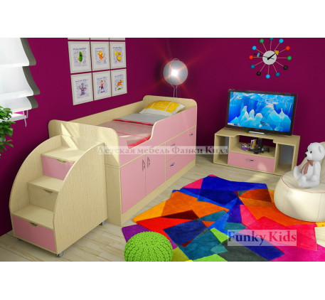 Мини кровать-чердак Фанки Кидз-9 +лестница 13/19 +тумба 13/22. Спальное место кровати 160х70 см