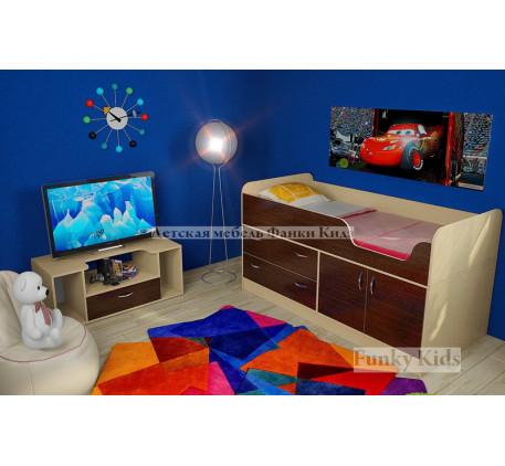 Мини кровать-чердак Фанки Кидз-9 +тумба 13/22. Спальное место кровати 160х70 см