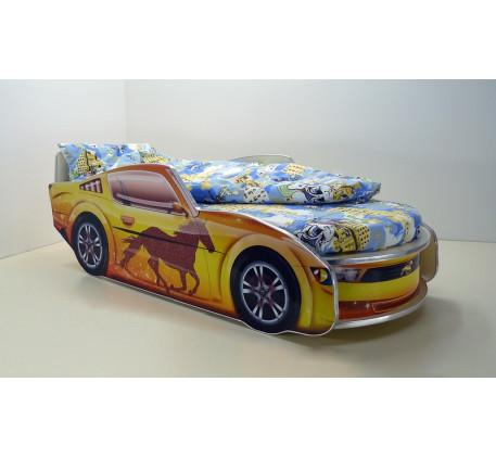 Кровать в виде машины Мустанг с матрасом, спальное место кровати 1700*700 мм.