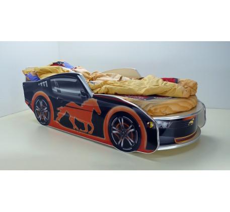 Кровать-машина для мальчика Мустанг с матрасом, спальное место кровати 1700*700 мм.