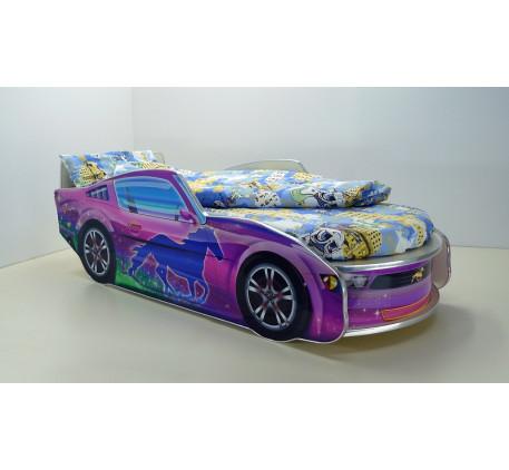 Кровать-машина для девочки Мустанг с матрасом, спальное место кровати 1700*700 мм.