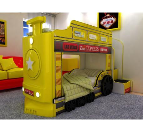 Детская двухъярусная кровать Паровоз