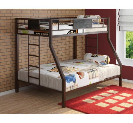 2-х ярусная кровать Гранада металлическая. Верхнее спальное место 190х90 см, нижнее 190х120 см