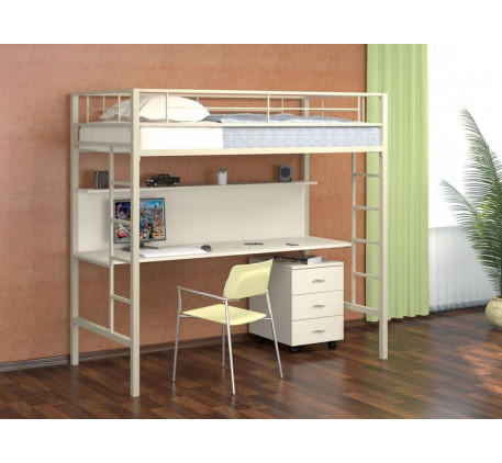 Кровать-чердак Севилья-1 металлическая со столешницей. Тумба с 3 ящиками +2830 руб