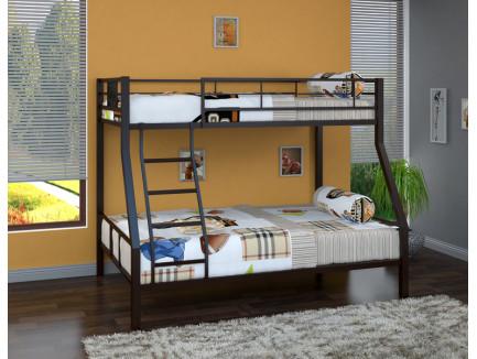 Двухъярусная кровать Гранада-1 железная. Верхнее спальное место 190х90 см, нижнее 190х120 см