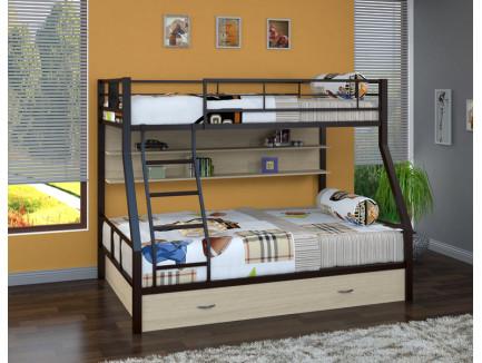 Двухъярусная кровать Гранада-1 ПЯ с полкой и ящиком на колёсах. Верхнее спальное место 190х90 см, нижнее 190х120 см
