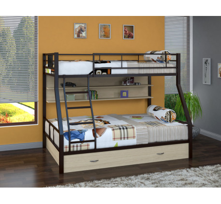 Двухъярусная кровать Гранада-1 ПЯ с полкой и ящиком на колёсах. Верхнее спальное место 190х90 см, ни..