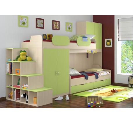 Кровать Дельта 18.04 верхняя +кровать нижняя 18.01 +лестница-стеллаж 18.06. Верхнее спальное место 2..