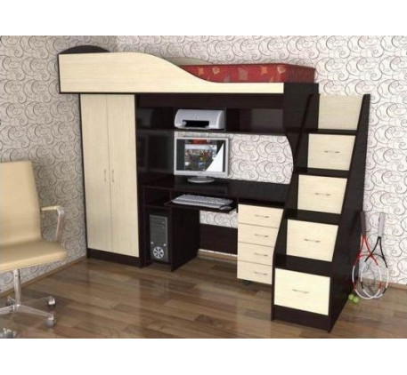 Кровать-чердак Квартет-1, спальное место 190х80 см
