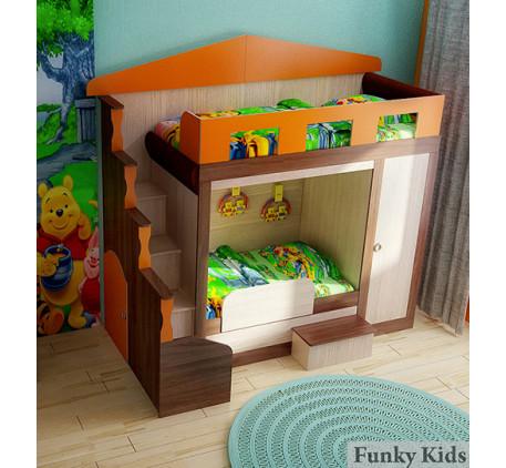 Двухэтажная кровать-домик Фанки Хоум, спальные места 180х80, 130х80 см (Funky Home арт. 11003). Нижн..