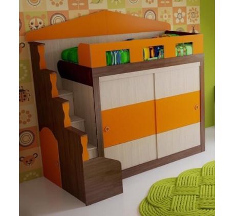 Кровать-чердак в виде домика Фанки Хоум с шкафом-купе, спальное место 180х80 см (Funky Home арт. 110..