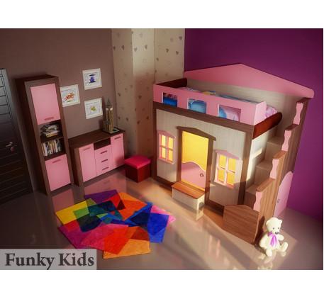 Кровать-замок для девочки Фанки Хоум (Funky Home) арт. 11001 +комод ФТ-01 +пенал ФТ-04