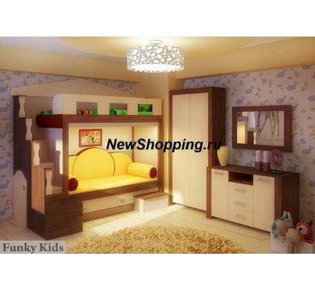 Двухъярусная кровать-замок Фанки Хоум (Funky Home) арт. 11002 +шкаф ФТ-05 +комод ФТ-01