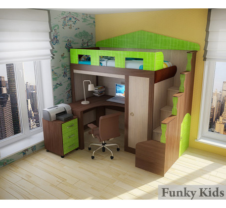 Кровать-чердак замок Фанки Хоум (Funky Home) арт. 11004 +стол ФТ-10 +тумба ФТ-08