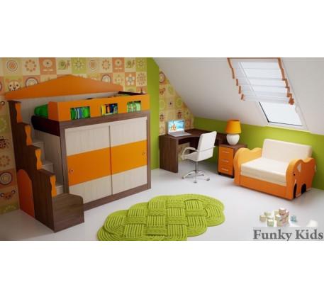Детская кровать-замок с шкафом-купе Фанки Хоум (Funky Home) арт. 11005 +стол ФТ-10 +тумба ФТ-08