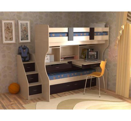 Двухъярусная кровать Дуэт-4 с выдвижным нижним спальным местом и двумя столами